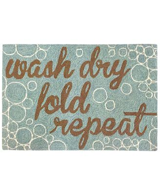 Liora Manne Front Porch Indoor/Outdoor Wash...And Repeat Aqua Area Rug