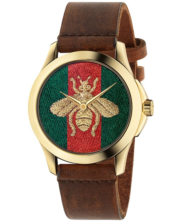 Gucci - Unisex Swiss Le Marché Des Merveilles Brown Leather Strap Watch 38mm YA126451