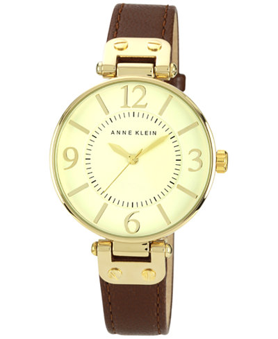 Anne klein watch women 39 s brown leather strap 10 9168ivbn watches jewelry watches macy 39 s for Anne klein leather strap