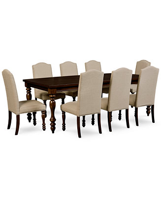 Kelso 9 pc dining set dining table 8 side chairs for Macys dining room chairs