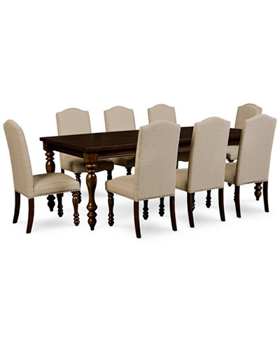 Kelso 9-Pc. Dining Set (Dining Table & 8 Side Chairs) - Furniture ...