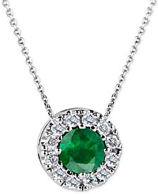 Emerald (1/2 ct. t.w.) and Diamond (1/6 ct. t.w.) Halo Pendant Necklace in 14k White Gold