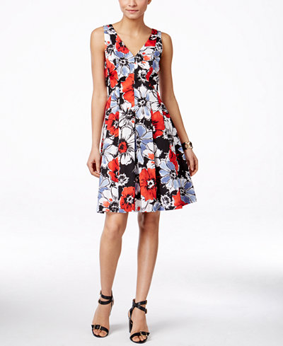 Anne Klein Floral Print Sleeveless Fit Amp Flare Dress