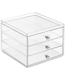 Slim 3-Drawer Makeup Organizer, Clear