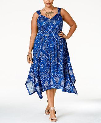 American Rag Plus Size Printed Handkerchief Hem Midi Dress Created