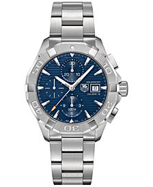 TAG Heuer Men's Swiss Chronograph Aquaracer Calibre 16 Stainless Steel Bracelet Watch 43mm