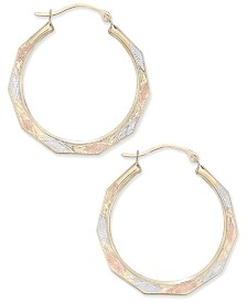 Tri-Color Decorative Hoop Earrings in 10k White, Yellow, and Rose Gold