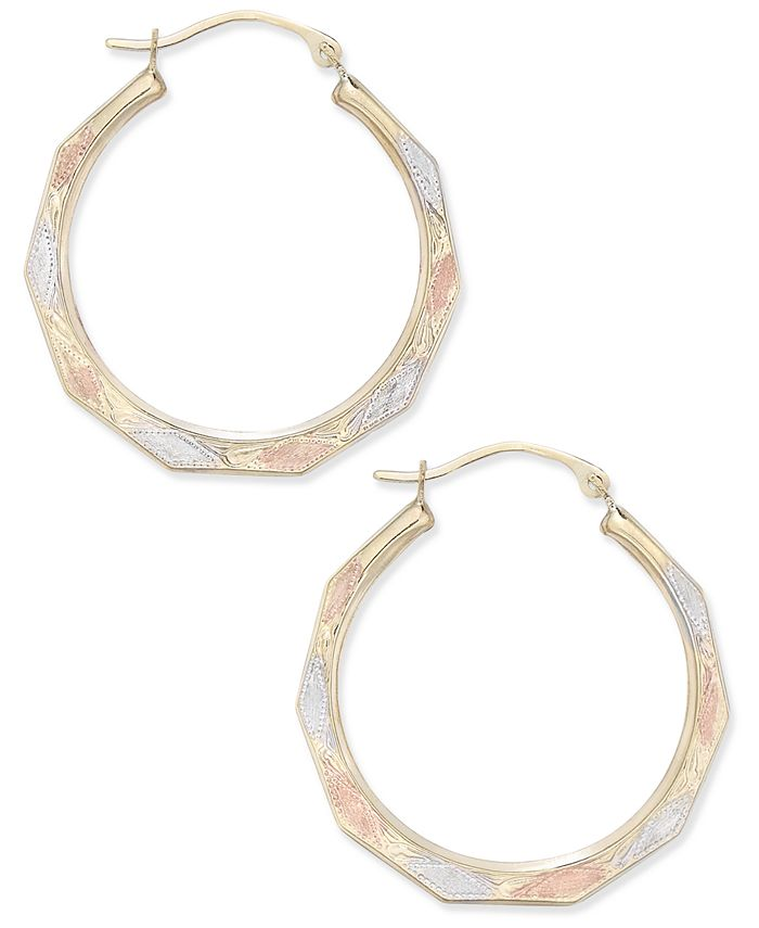 Macy's - Tri-Color Decorative Hoop Earrings in 10k White, Yellow, and Rose Gold