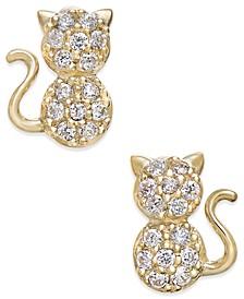 Cubic Zirconia Kitty Cat Stud Earrings in 10k Gold