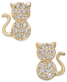 Cubic Zirconia Kitty Cat Stud Earrings in 10k Gold