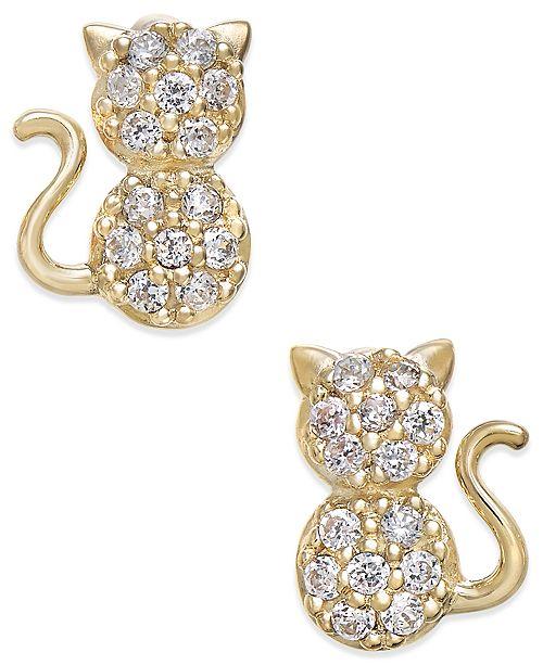 Macy's Cubic Zirconia Kitty Cat Stud Earrings in 10k Gold