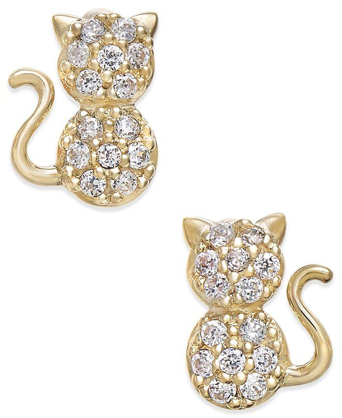 Macy's - Cubic Zirconia Kitty Cat Stud Earrings in 10k Gold