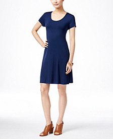 Petite Short-Sleeve A-Line Dress, Created for Macy's