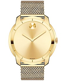 Men's Swiss Bold Gold-Tone Ion-Plated Stainless Steel Mesh Bracelet Watch 44mm 3600373