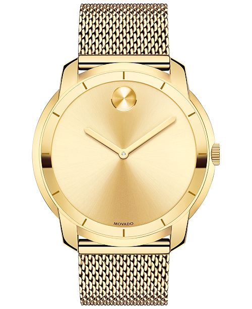 movado men s swiss bold gold tone ion plated stainless steel mesh