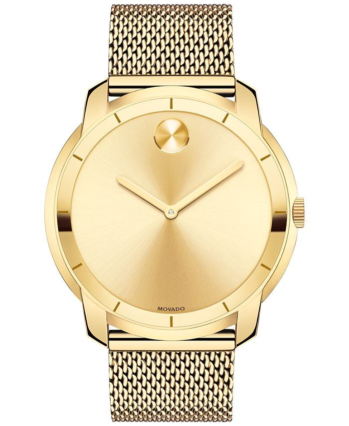 Movado - Men's Swiss Bold Gold-Tone Ion-Plated Stainless Steel Mesh Bracelet Watch 44mm 3600373