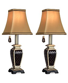 StyleCraft Set of 2 Brompton Pull-Chain Mini Accent Lamps