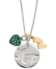 Emerald (3/4 ct. t.w.) and Diamond Accent Mom and Baby Feet Pendant Necklace in Sterling Silver and Gold-Plated Sterling Silver