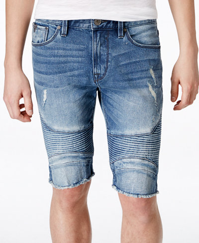 "GUESS Men's Slim-Fit Sewanee Moto Jean 11"" Stretch Shorts - Shorts ..."