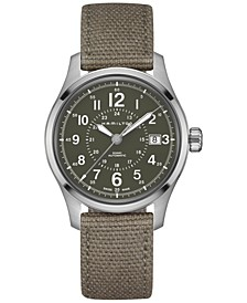 Men's Swiss Automatic Khaki Field Green Canvas Strap Watch 40mm H70595963