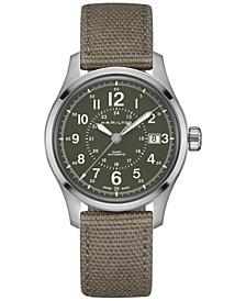 Men's Swiss Automatic Khaki Field Green Canvas Strap Watch 40mm H70595963