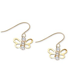 Children's Cubic Zirconia Open Butterfly Drop Earrings in 14k Gold
