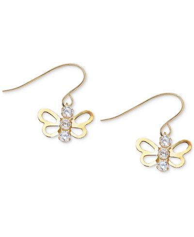 Children's Cubic Zirconia Open Butterfly Drop Earrings in 14k Gold