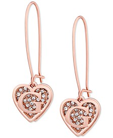 Rose Gold-Tone Pavé Heart Logo Drop Earrings