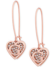 GUESS Rose Gold-Tone Pavé Heart Logo Drop Earrings