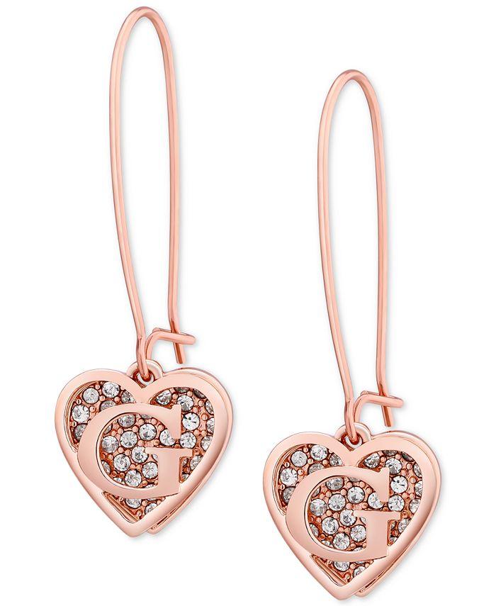 GUESS - Rose Gold-Tone Pavé Heart Logo Drop Earrings