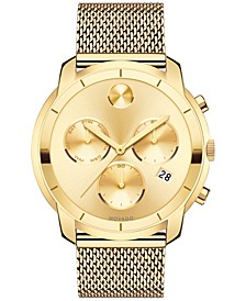 Men's Swiss Chronograph Bold Gold-Tone Ion-Plated Stainless Steel Mesh Bracelet Watch 44mm 3600372