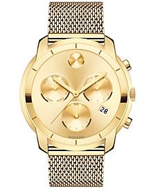 Movado Men's Swiss Chronograph Bold Gold-Tone Ion-Plated Stainless Steel Mesh Bracelet Watch 44mm 3600372