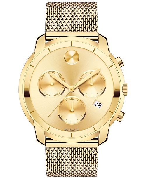 250ddbac7 ... Movado Men's Swiss Chronograph Bold Gold-Tone Ion-Plated Stainless Steel  Mesh Bracelet Watch ...
