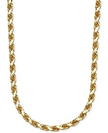 "3-1/3mm Rope Chain 24"" Necklace in Solid 14k Gold"