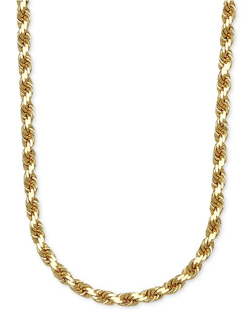 "Italian Gold 3-1/3mm Rope Chain 24"" Necklace in Solid 14k Gold"