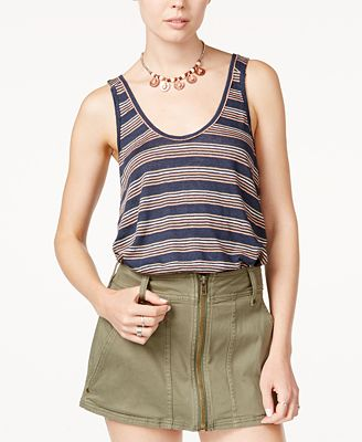 Free People Linen Striped Tank Top