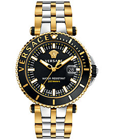 Versace Men's Swiss V-Race Diver Two-Tone Ion-Plated Stainless Steel Bracelet Watch 46mm VAK040016