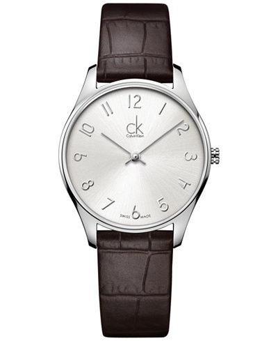Calvin Klein Classic Men's Swiss Brown Leather Strap Watch 32mm K4D221G6
