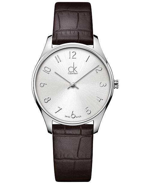 Classic Men's Swiss Brown Leather Strap Watch 32mm K4D221G6