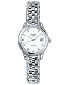 Longines Women's Swiss Automatic Flagship Diamond Accent Stainless Steel Bracelet Watch 26mm L42744276