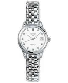 Longines Women's Swiss Automatic Flagship Diamond Accent Stainless Steel Bracelet Watch 26mm L42744276