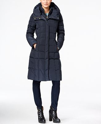 Cole Haan Signature Hooded Long Down Puffer Coat with Vestee ...