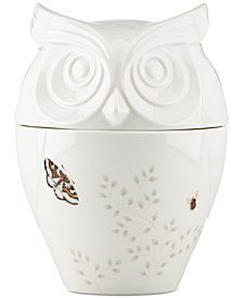 Lenox Butterfly Meadow Collection 2-Pc. Lidded Owl Cookie Jar