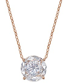 Rose Gold-Tone Round Crystal Pendant Necklace, Created for Macy's