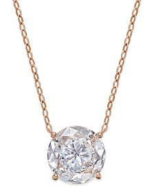 Eliot Danori Rose Gold-Tone Round Crystal Pendant Necklace, Created for Macy's