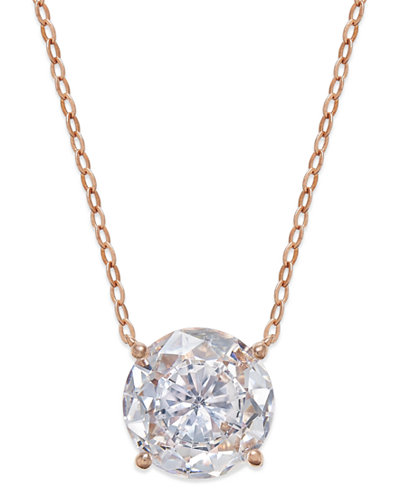 Danori Rose Gold-Tone Round Crystal Pendant Necklace, Created for Macy's