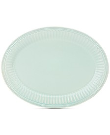 "French Perle Groove Collection 16"" Ice Blue Oval Platter"