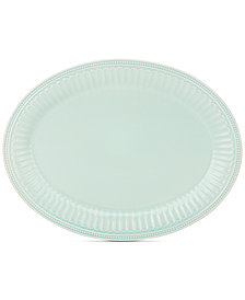 """Lenox French Perle Groove Collection 16"""" Ice Blue Oval Platter"""