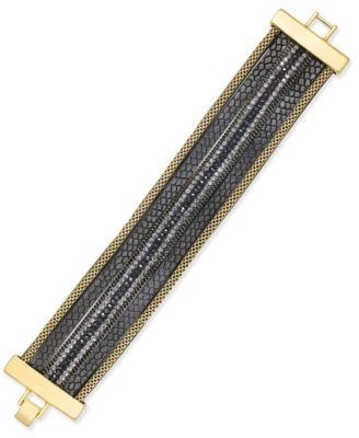 Image of INC International Concepts Gold-Tone Beaded Faux-Leather Bracelet, Only at Macy's