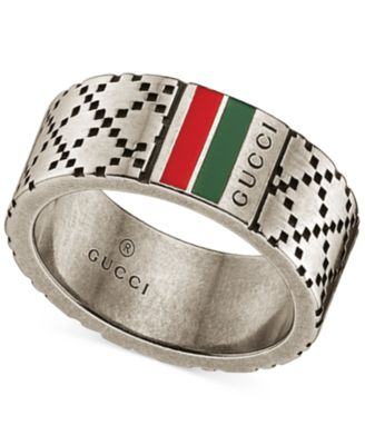 Gucci Mens Sterling Silver Diamond Pattern Wide Ring